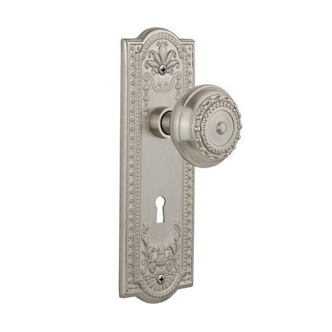 Nostalgic Warehouse 701815 Meadows Plate with Keyhole Passage Meadows Door Knob, Satin Nickel