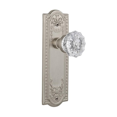 Nostalgic Warehouse 701842 Meadows Plate Passage Crystal Glass Door Knob, Satin Nickel