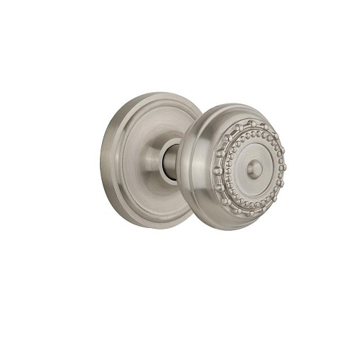 Nostalgic Warehouse 701857 Classic Rosette Passage Meadows Door Knob, Satin Nickel