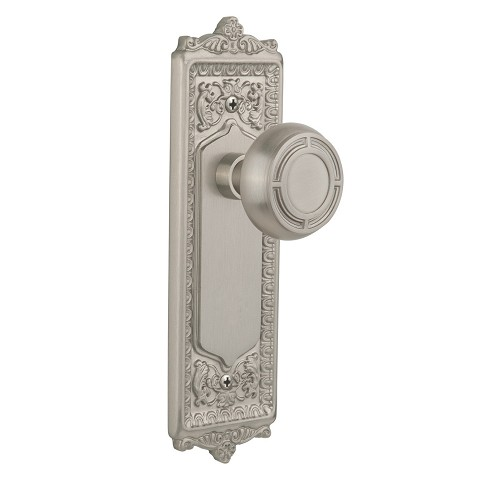 Nostalgic Warehouse 708929 Egg & Dart Plate Passage Mission Door Knob, Satin Nickel