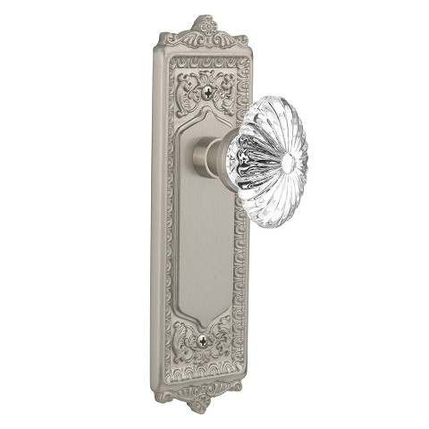 Nostalgic Warehouse 708949 Egg & Dart Plate Passage Oval Fluted Crystal Glass Door Knob, Satin Nickel