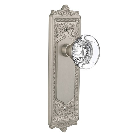 Nostalgic Warehouse 708963 Egg & Dart Plate Passage Round Clear Crystal Glass Door Knob, Satin Nickel