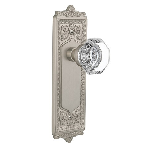 Nostalgic Warehouse 708984 Egg & Dart Plate Passage Waldorf Door Knob, Satin Nickel