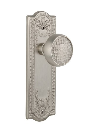 Nostalgic Warehouse 709036 Meadows Plate Passage Craftsman Door Knob, Satin Nickel