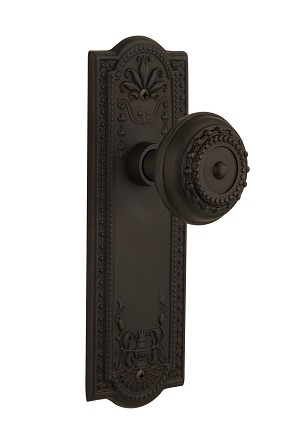 Nostalgic Warehouse 709096 Meadows Plate Passage Meadows Door Knob, Oil-Rubbed Bronze