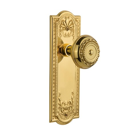 Nostalgic Warehouse 709100 Meadows Plate Passage Meadows Door Knob, Unlacquered Brass