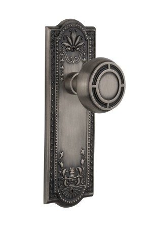Nostalgic Warehouse 709102 Meadows Plate Passage Mission Door Knob, Antique Pewter