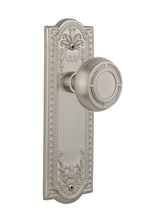 Nostalgic Warehouse 709104 Meadows Plate Passage Mission Door Knob, Satin Nickel