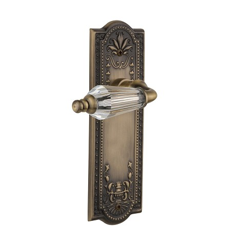 Nostalgic Warehouse 709149 Meadows Plate Passage Parlor Lever, Antique Brass