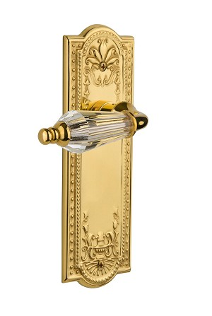 Nostalgic Warehouse 709160 Meadows Plate Passage Parlor Lever, Polished Brass