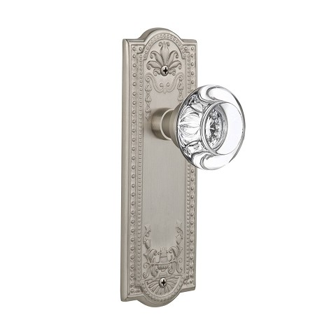Nostalgic Warehouse 709168 Meadows Plate Passage Round Clear Crystal Glass Door Knob, Satin Nickel