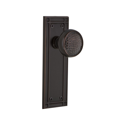 Nostalgic Warehouse 709230 Mission Plate Passage Craftsman Door Knob, Timeless Bronze