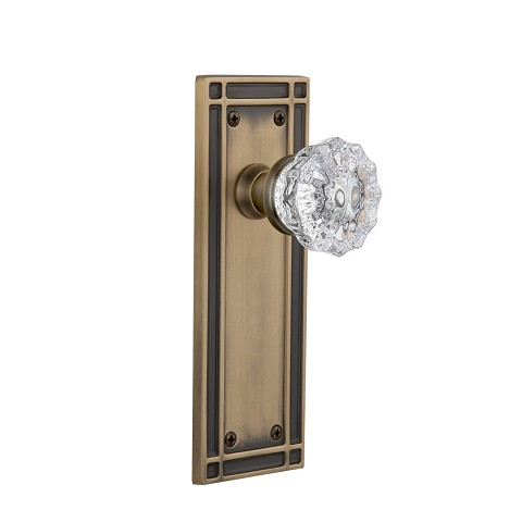 Nostalgic Warehouse 709231 Mission Plate Passage Crystal Glass Door Knob, Antique Brass