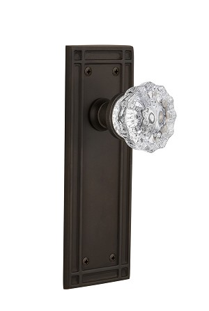Nostalgic Warehouse 709233 Mission Plate Passage Crystal Glass Door Knob, Oil-Rubbed Bronze