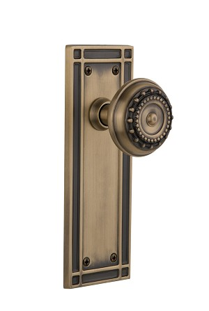 Nostalgic Warehouse 709251 Mission Plate Passage Meadows Door Knob, Antique Brass