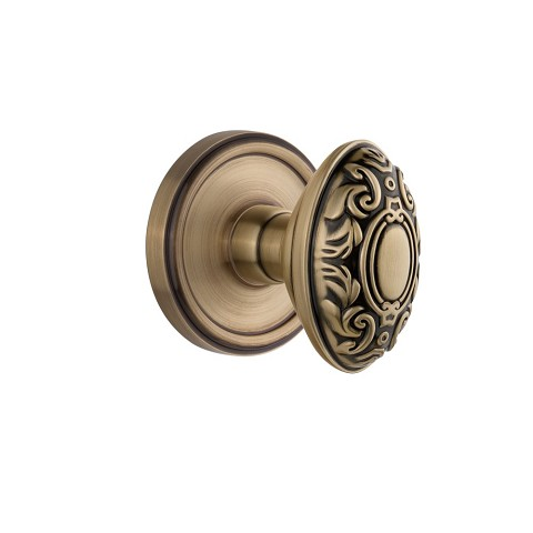 Grandeur 821797 Georgetown Plate Double Dummy with Grande Victorian Knob in Vintage Brass