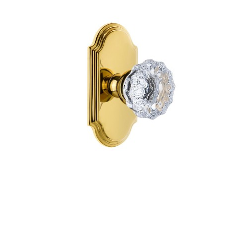 Grandeur 821809 Arc Plate Privacy with Fontainebleau Crystal Knob in Polished Brass