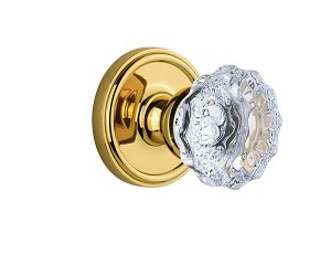 Grandeur 821839 Georgetown Plate Double Dummy with Fontainebleau Crystal Knob in Polished Brass
