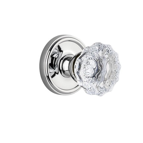 Grandeur 821840 Georgetown Plate Double Dummy with Fontainebleau Crystal Knob in Bright Chrome
