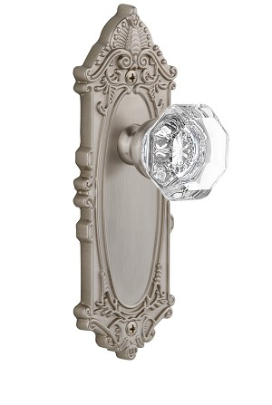Grandeur 821849 Grande Victorian Plate Dummy with Chambord Knob in Satin Nickel