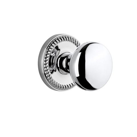 Grandeur 821937 Newport Plate Dummy with Fifth Avenue Knob in Bright Chrome