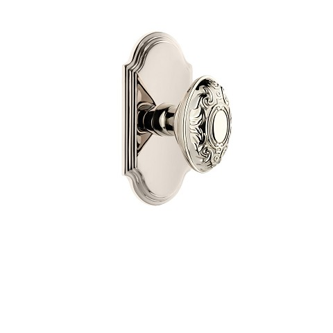 Grandeur 821993 Arc Plate Privacy with Grande Victorian Knob in Polished Nickel