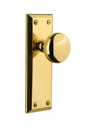 Grandeur 822000 Fifth Avenue Plate Dummy with Fifth Avenue Knob in Polished Brass